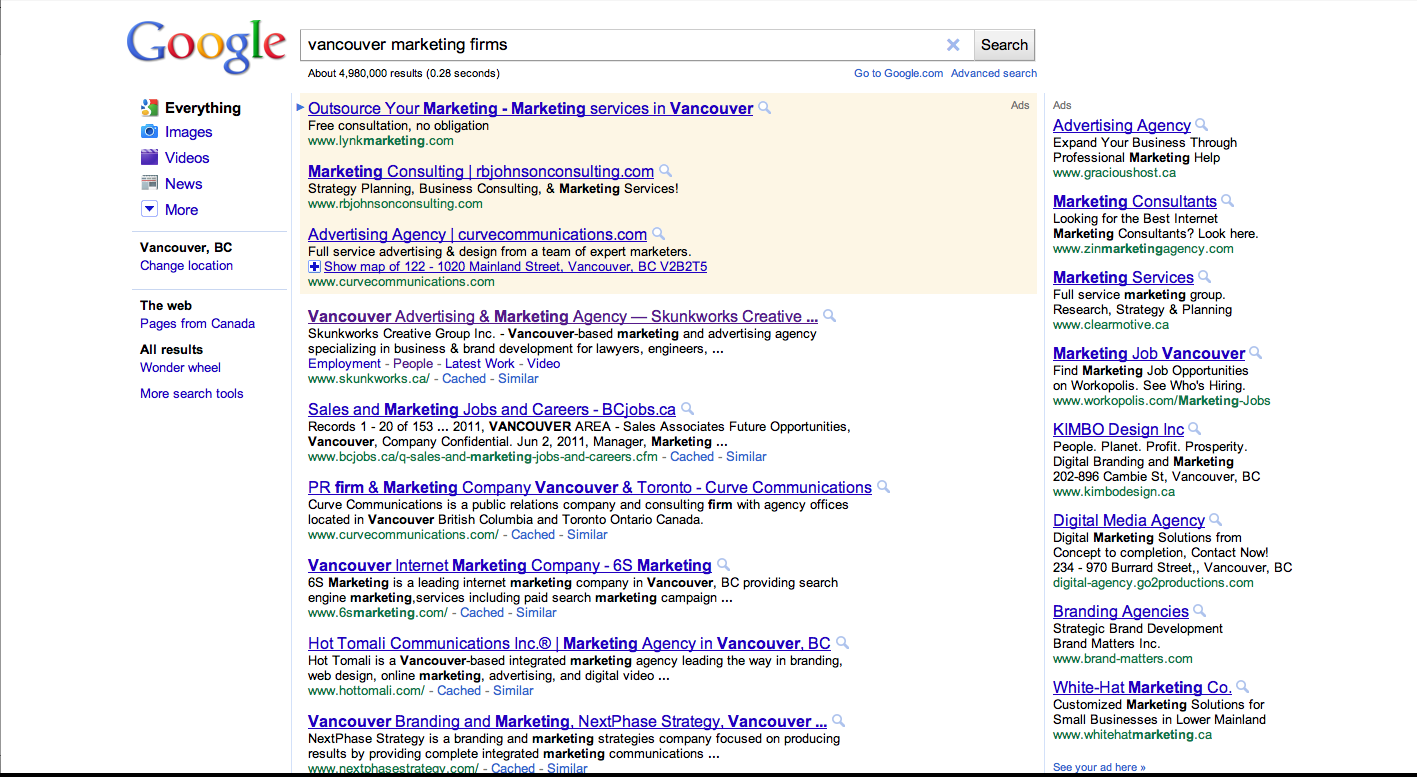 Google Search Results for Vancouver Marketing Firms