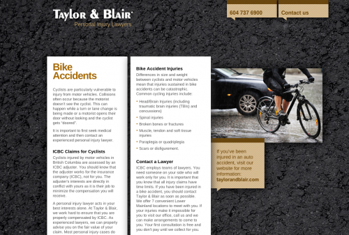 Bike Accident Law Microsite Screenshot