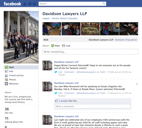 Screenshot of Davidson Lawyers LLP Facebook Page
