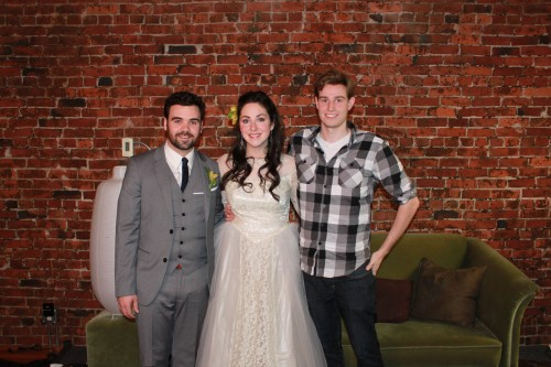 Myself pictured with our two costumed actors: Brynn Peebles and Adam Pateman.