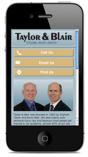 Taylor & Blair Mobile Optimized Home Page