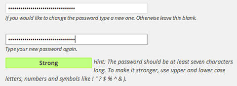 WordPress 3.7 Strong Password Indicator