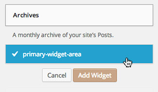 WordPress 3.8 Add Widget Dropdown