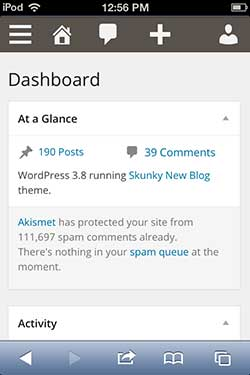 WordPress 3.8 Responsive Dashboard