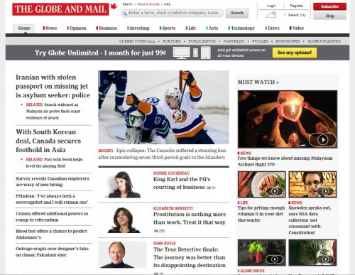 Globe and Mail Home Page