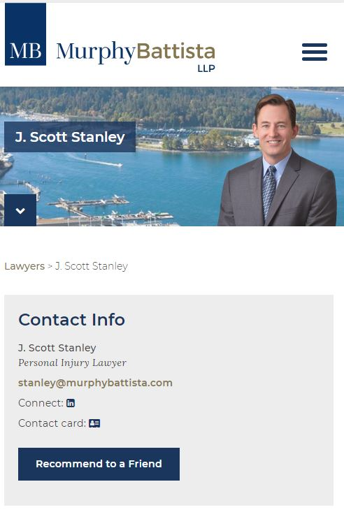 Scott Stanley Injury Lawyer Mobile Landing Page